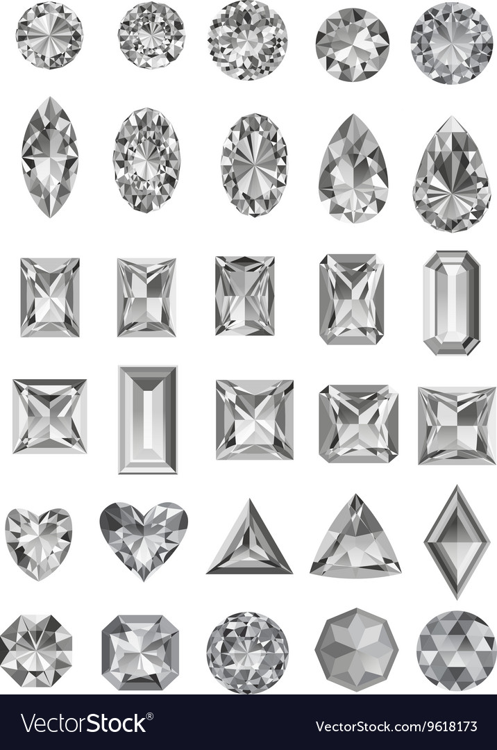 Set of realistic diamonds with different cuts vector