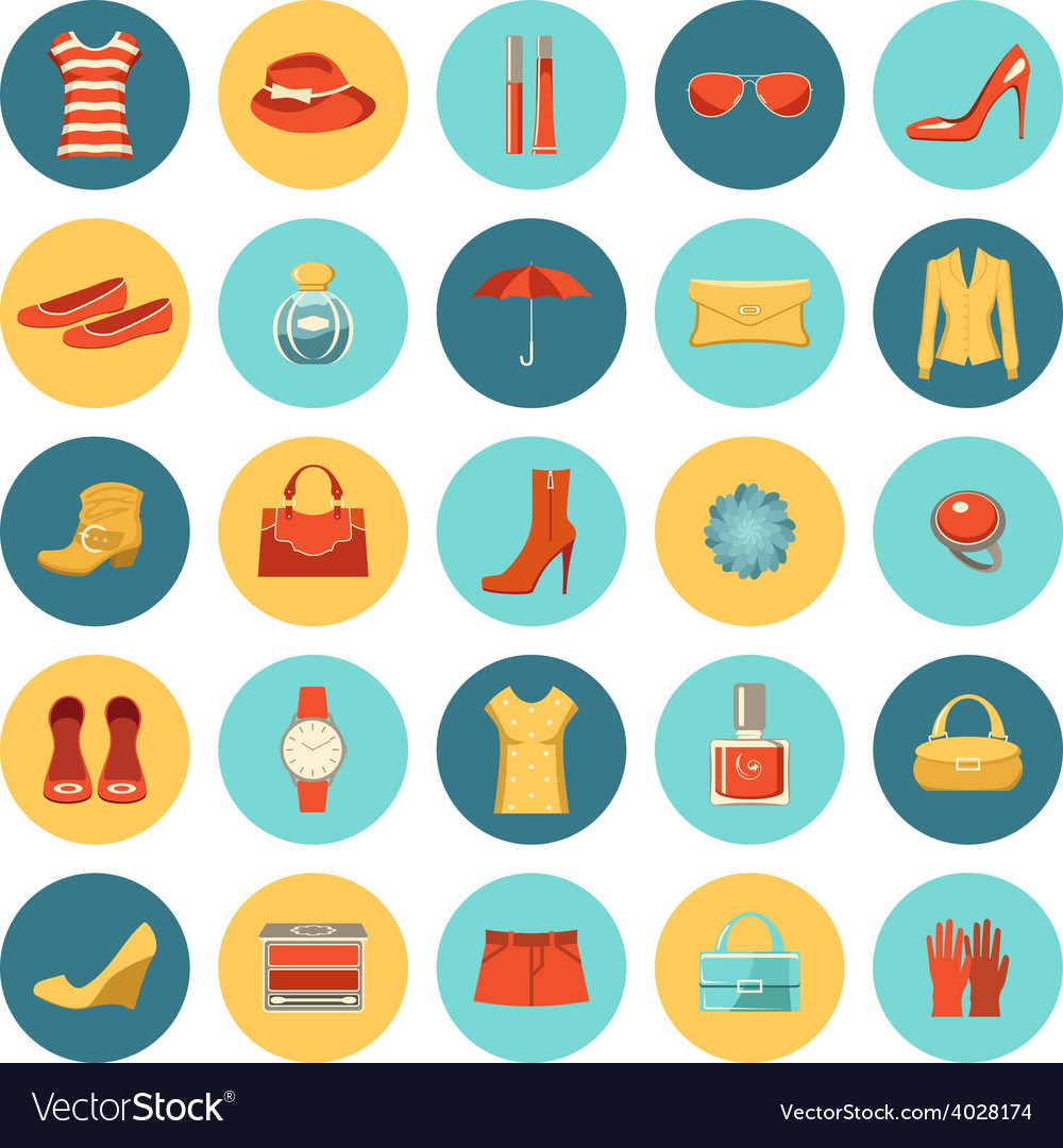 Set of flat design fashion icons vector