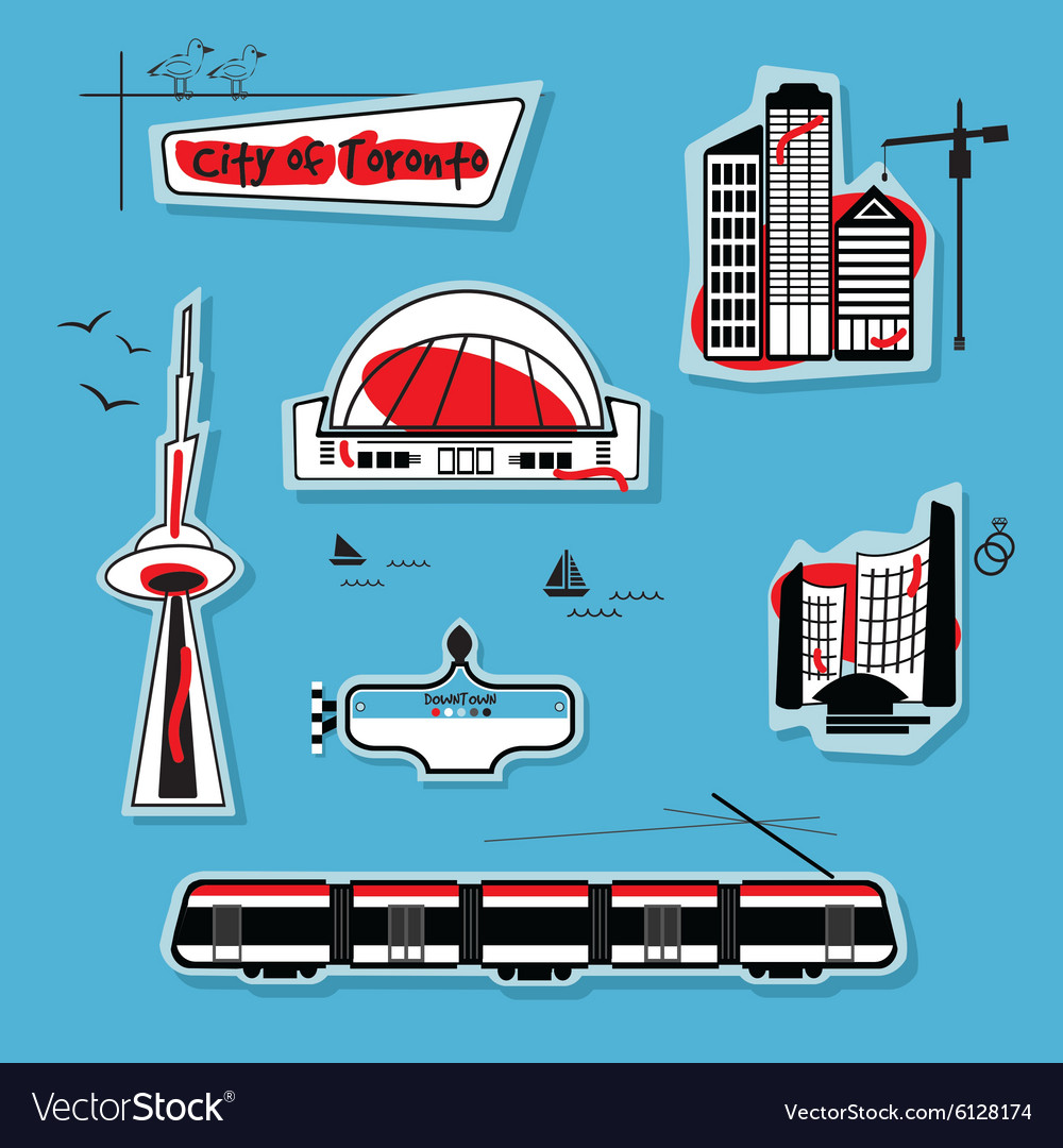 Vacation and travel icon set toronto vector