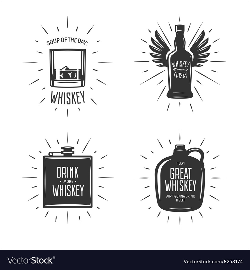 Whiskey related typography set quotes vector