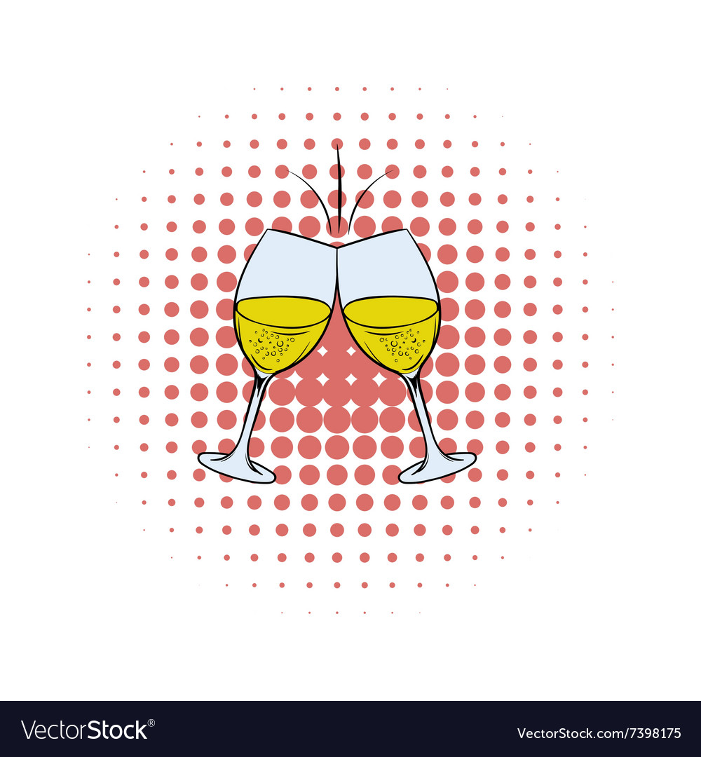Glasses of white wine comics icon vector
