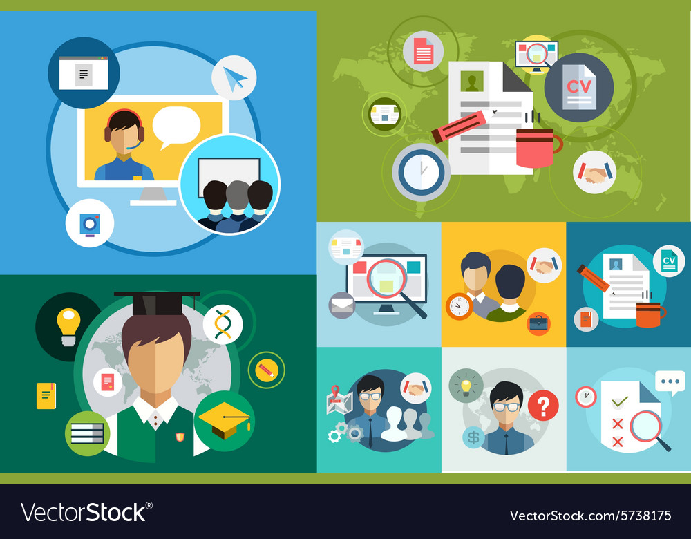 Online education icons webinar school vector