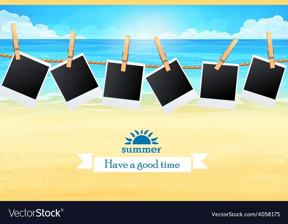 Seashore with frames for photos vector