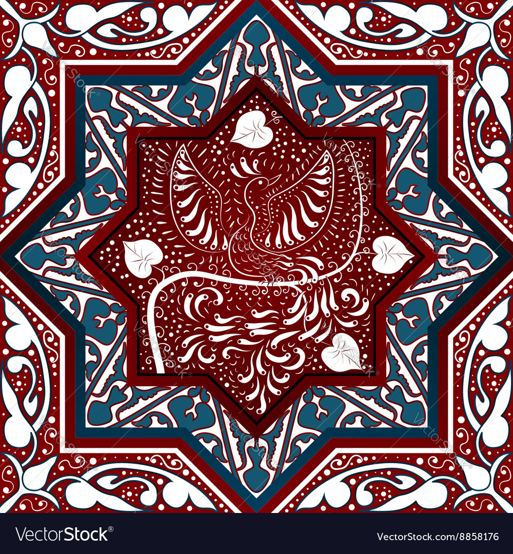Arabic seamless pattern with bird phoenix vector