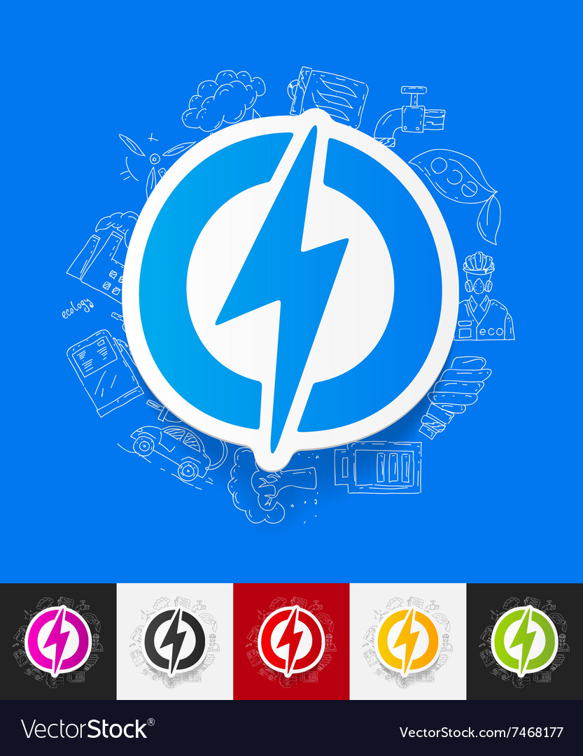Lightning bolt paper sticker with hand drawn vector