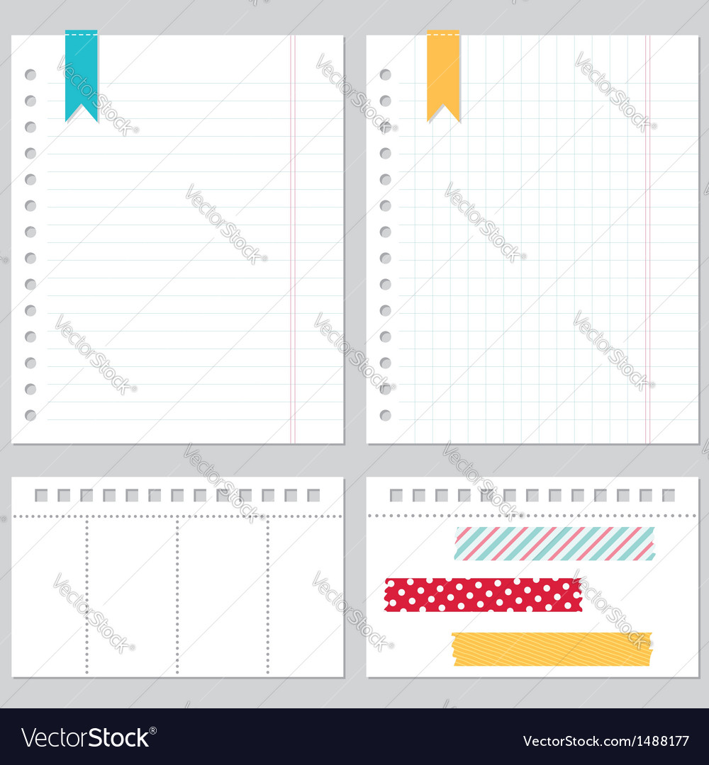 Notebook paper set vector