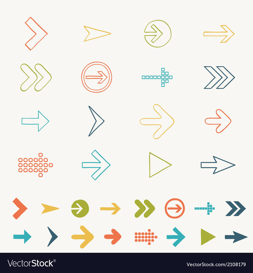 Arrow sign icon set doodle hand draw of web design vector