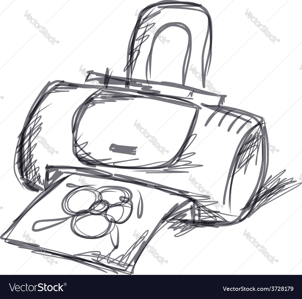 Printer sketch for your design vector