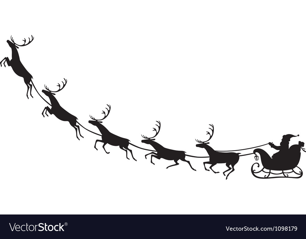 Santa claus riding on a reindeer sleigh vector