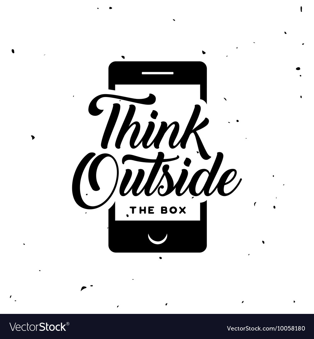 Think outside the box motivational poster vintage vector