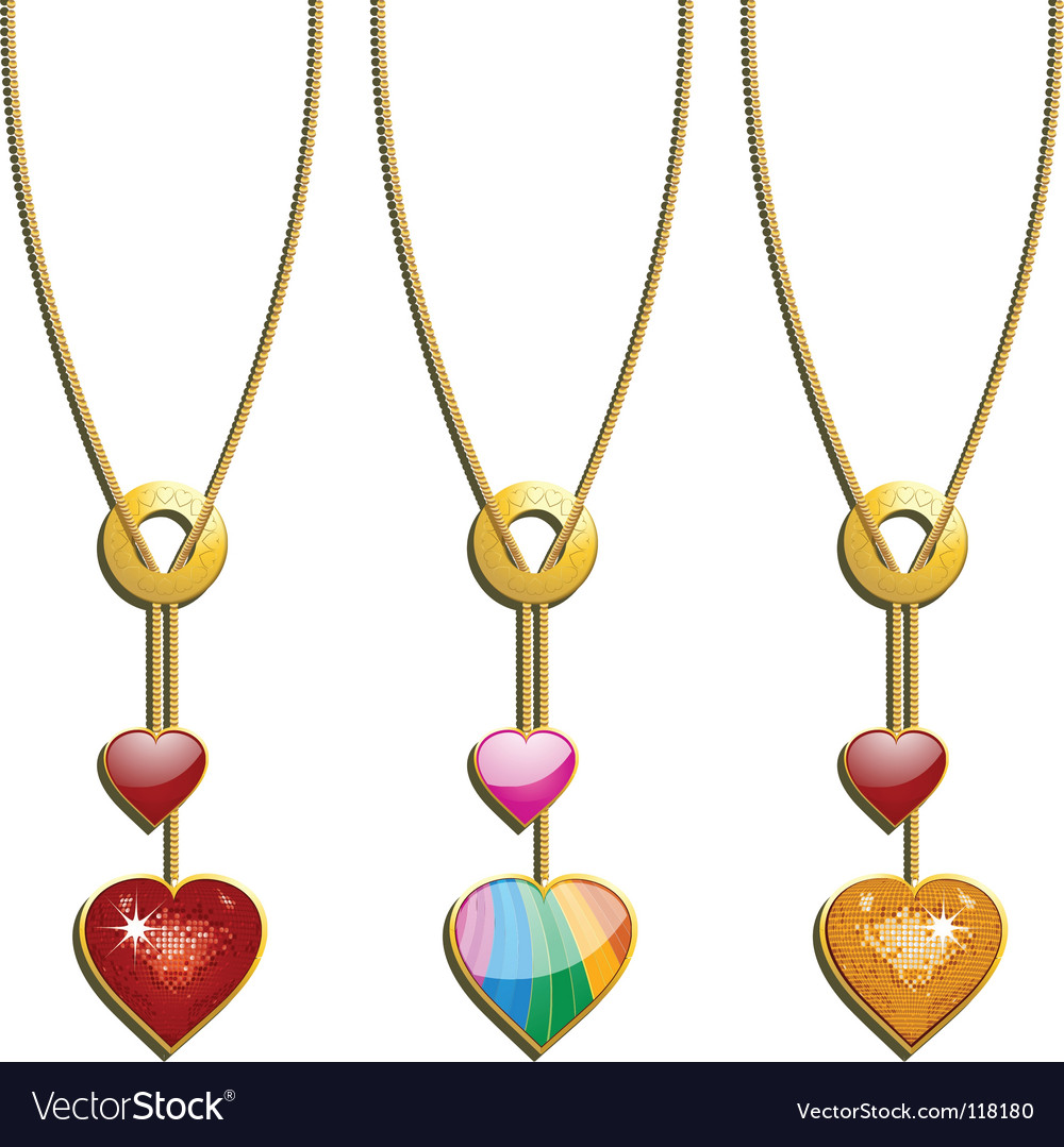 Valentines heart necklaces vector