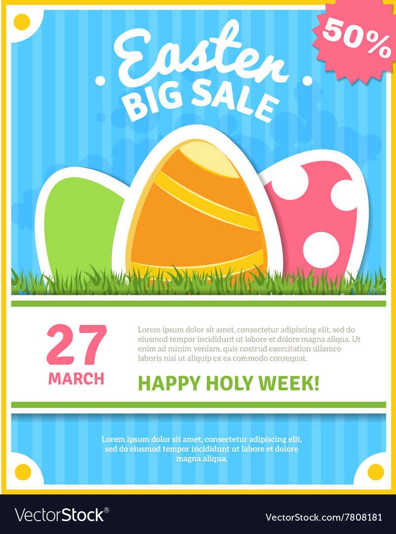 Easter sale poster vector