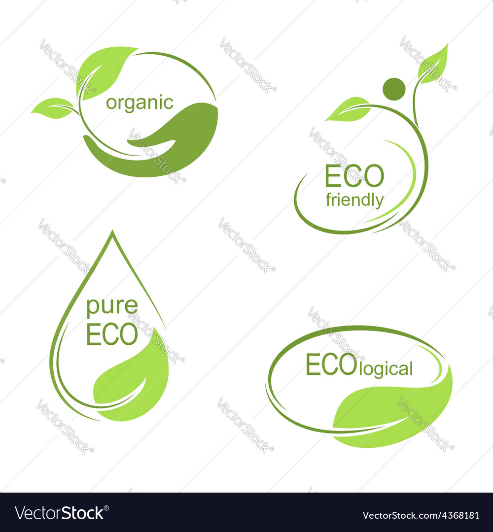 Ecological emblems and frames set vector