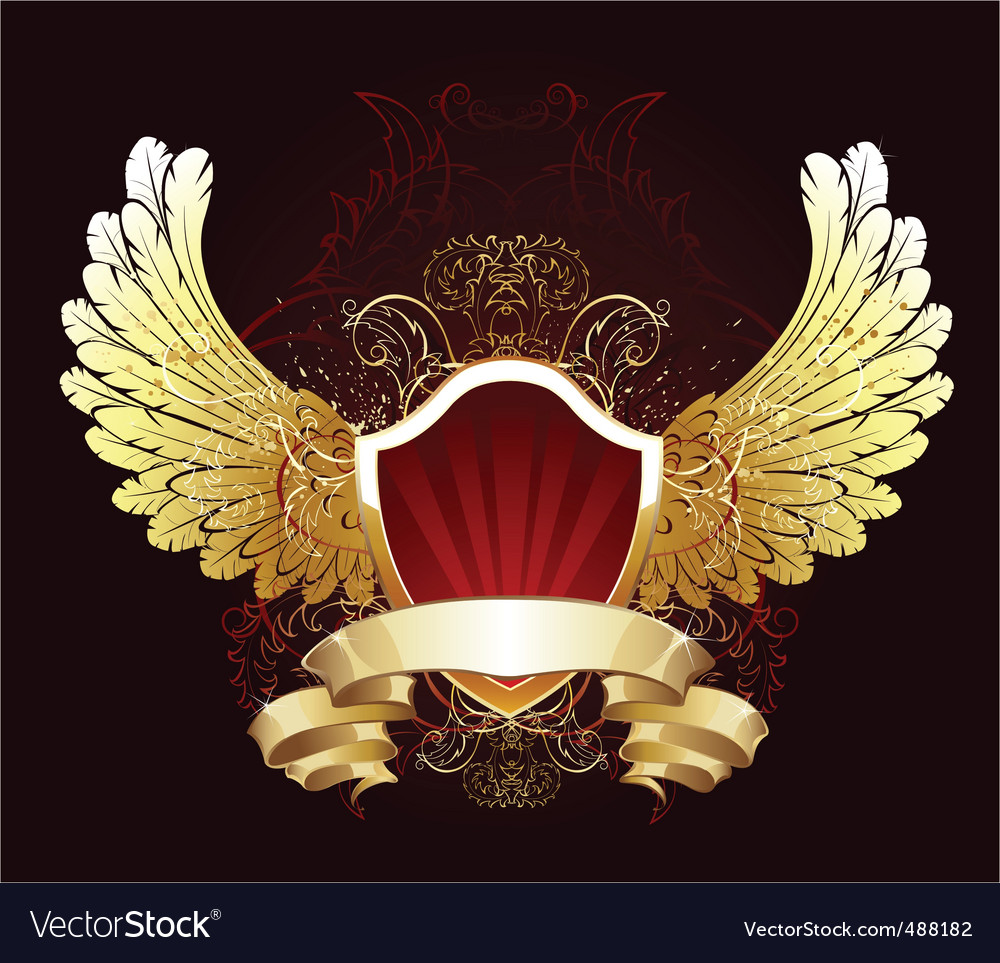 Red shield with golden wings vector