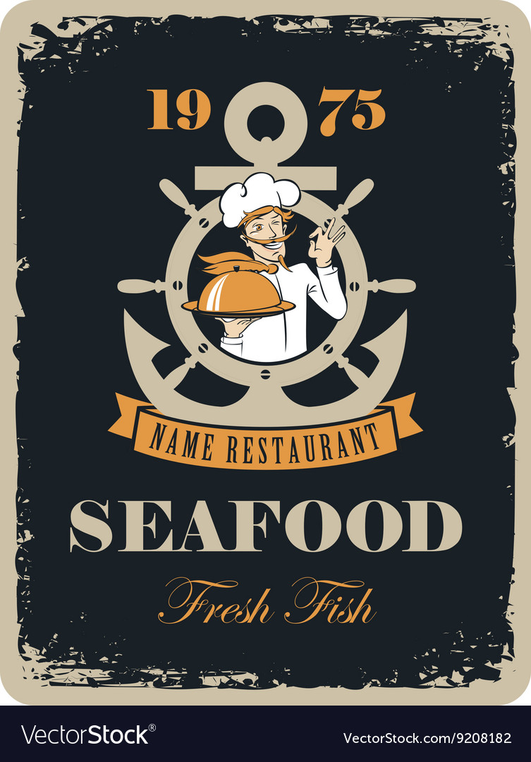 Seafood restaurant with maritime cook vector