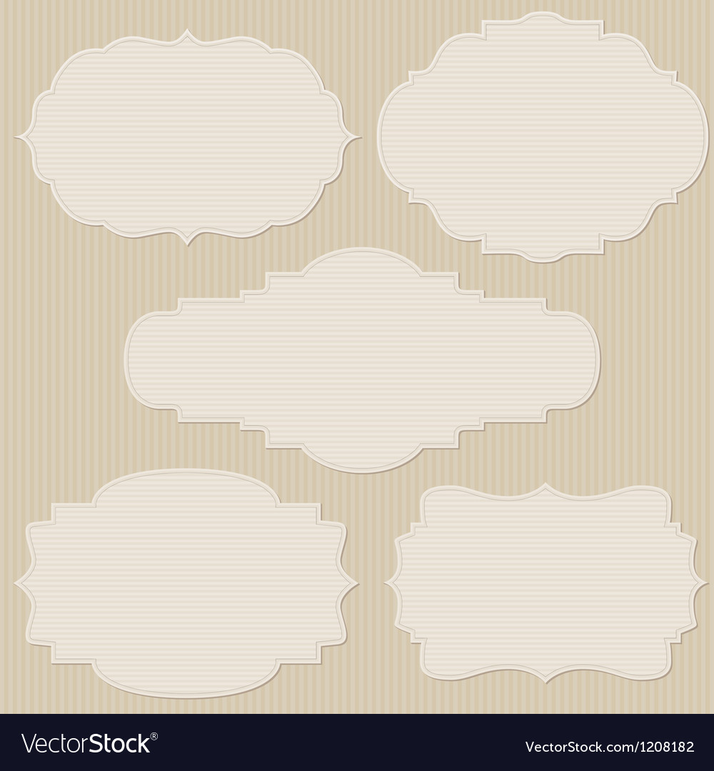 Set of five vintage striped frames vector