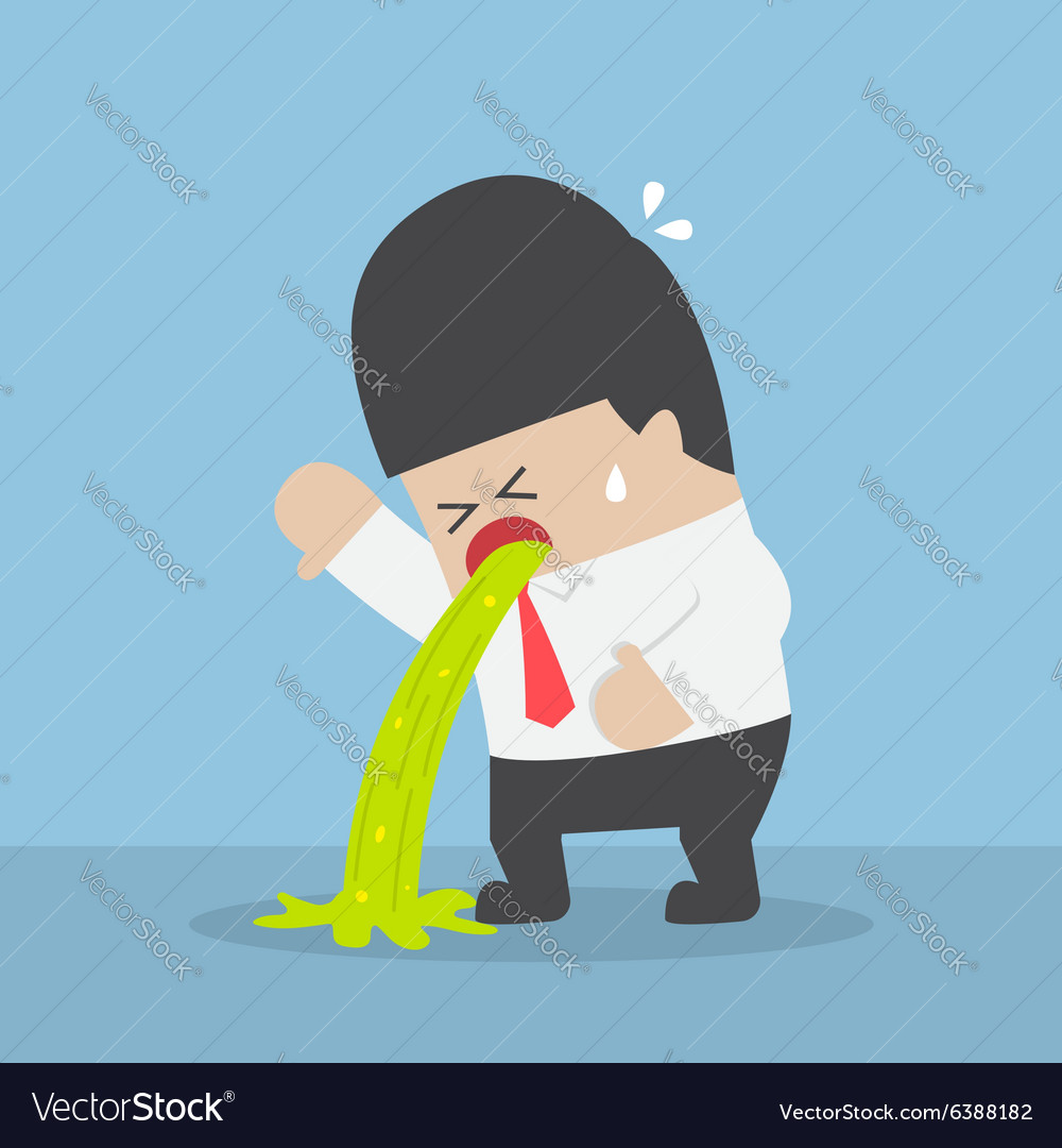 Sick businessman vomiting on the floor vector