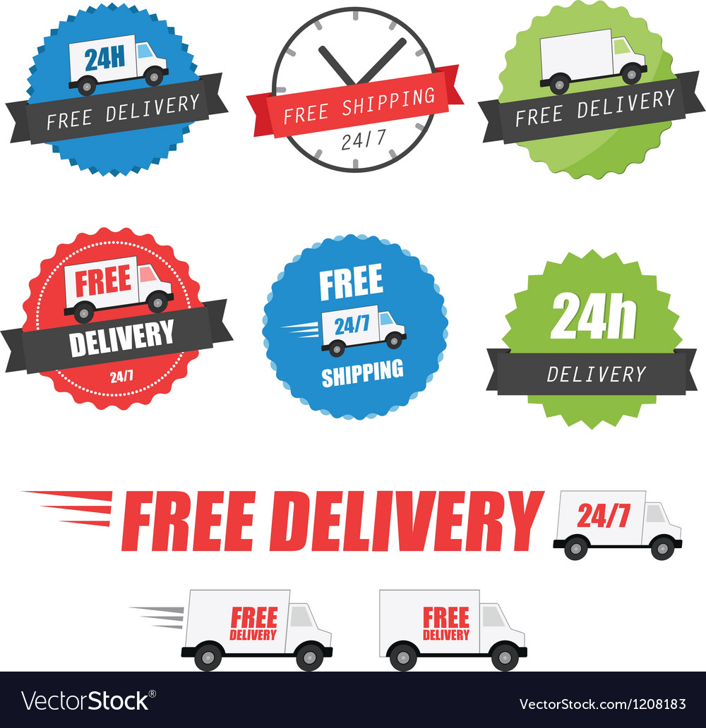 Set of delivery labels and badges vector
