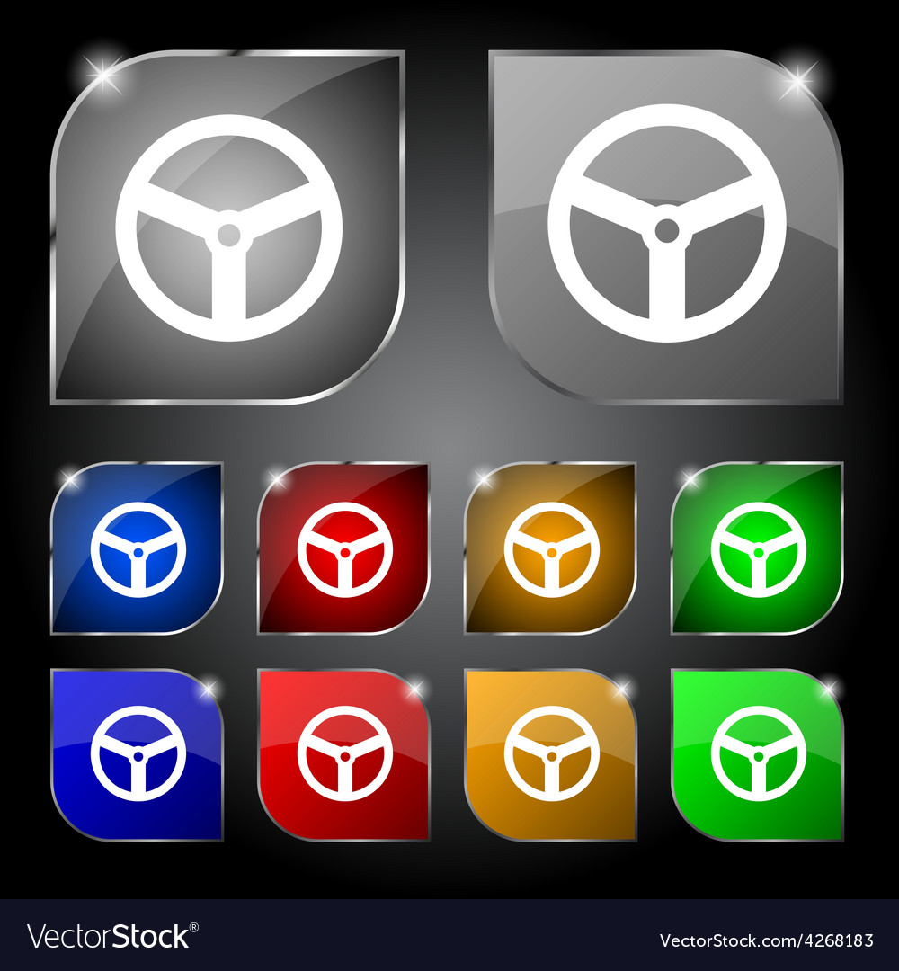 Steering wheel icon sign set of ten colorful vector
