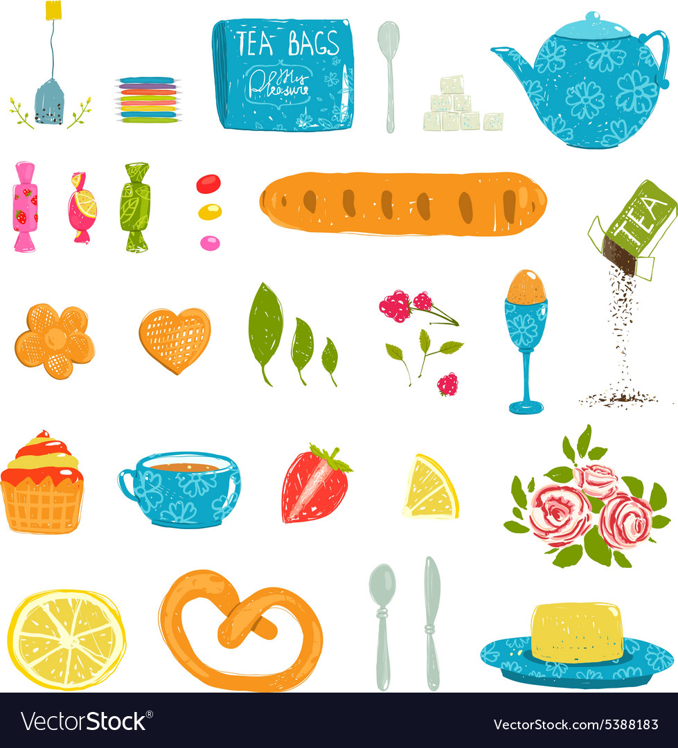 Tea drinking party pastry and crockery set drawing vector