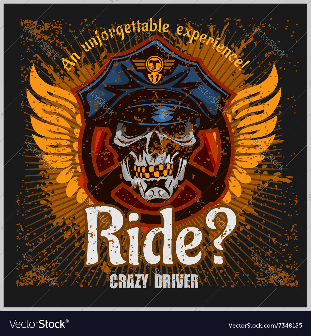 Crazy driver  skull and taxi print for t vector