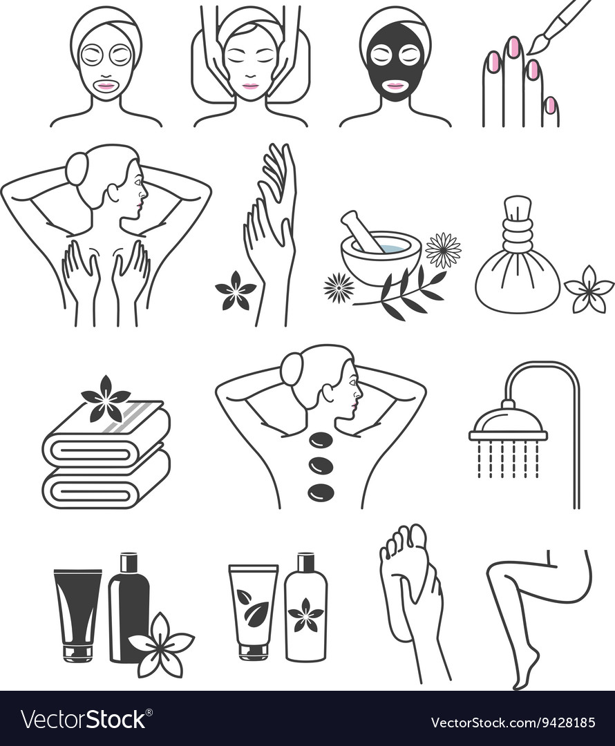 Spa massage therapy skin care cosmetics services vector