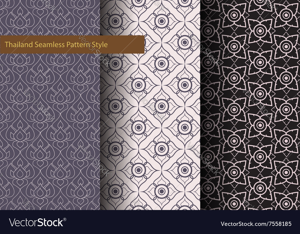 Thailand basic seamless pattern style vintage vector