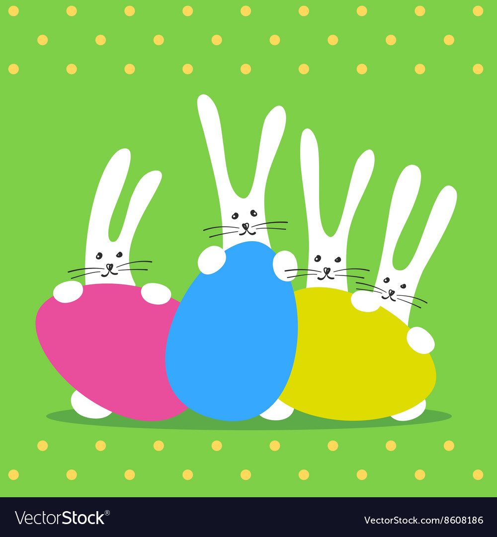 Three bunny happy easter vector