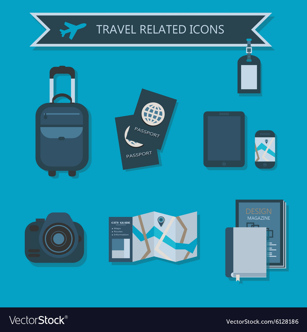 Vacation and travel icon set vector