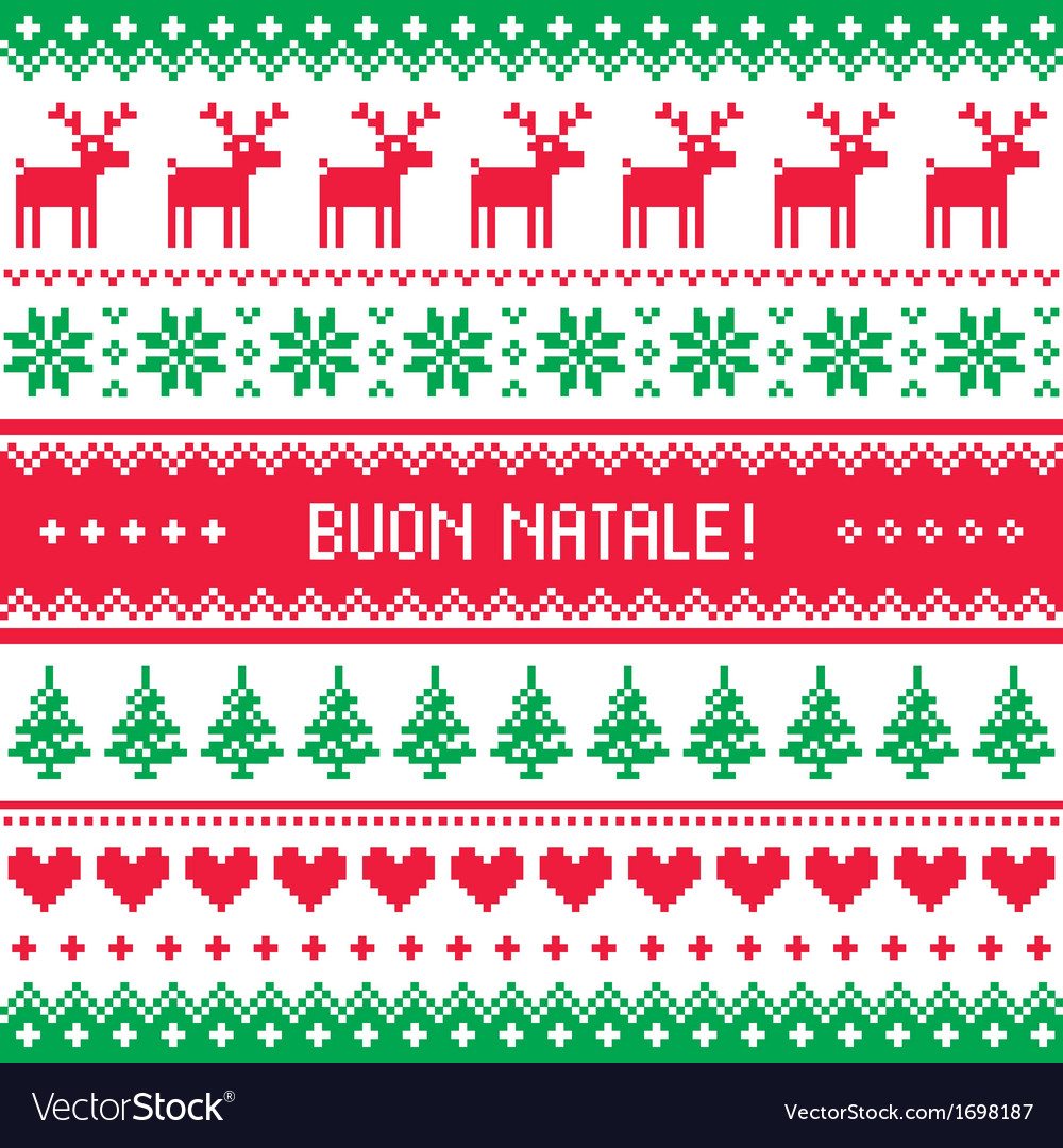 Buon natale card  scandynavian christmas pattern vector