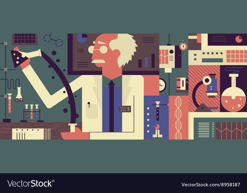 Scientist in laboratory background vector