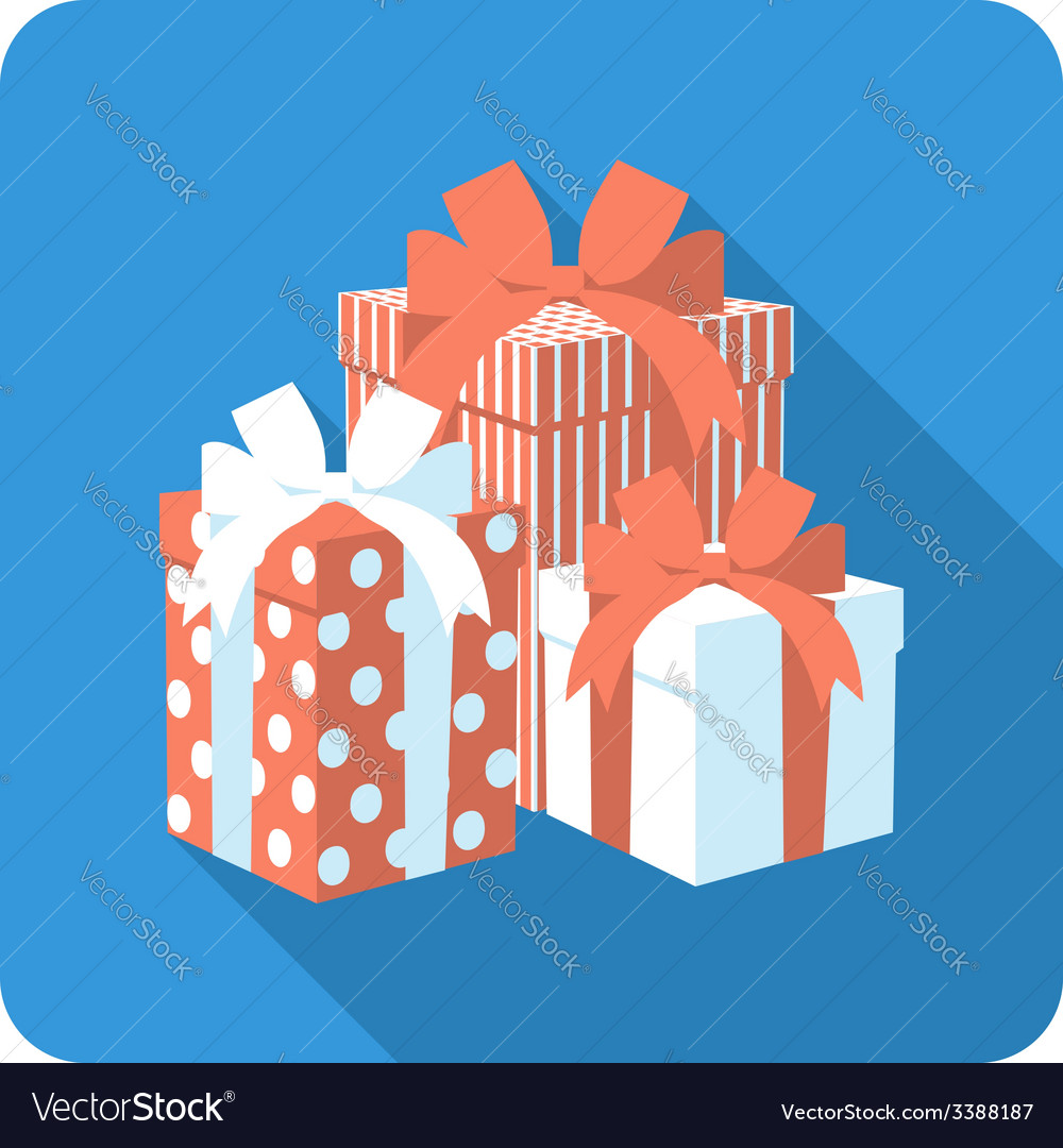 Set red and white gift box vector