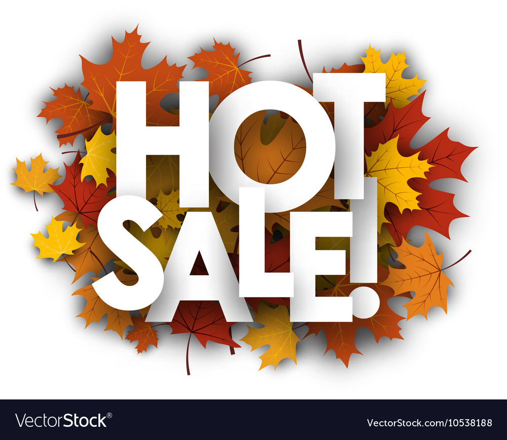 Hot sale background with maple leaves vector