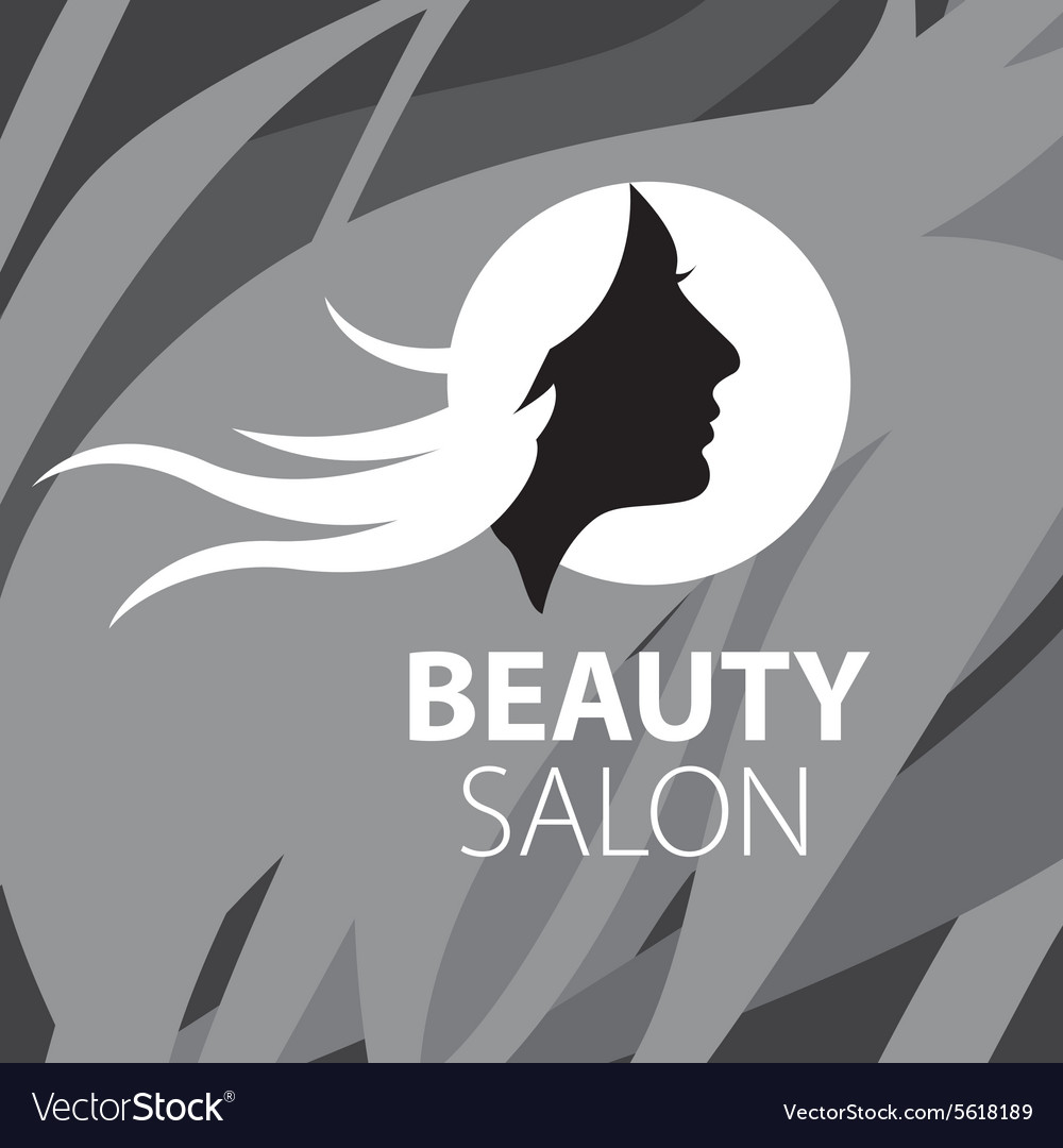 Logo girl with flying hair on a black background vector
