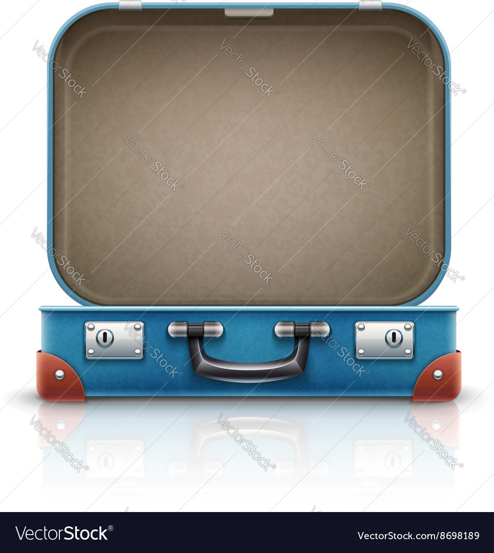 Open old retro vintage suitcase vector