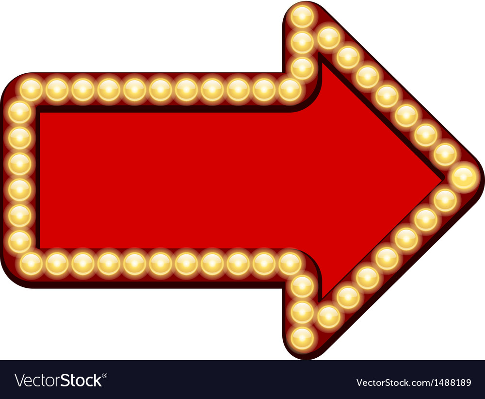 Red arrow with light bulbs vector