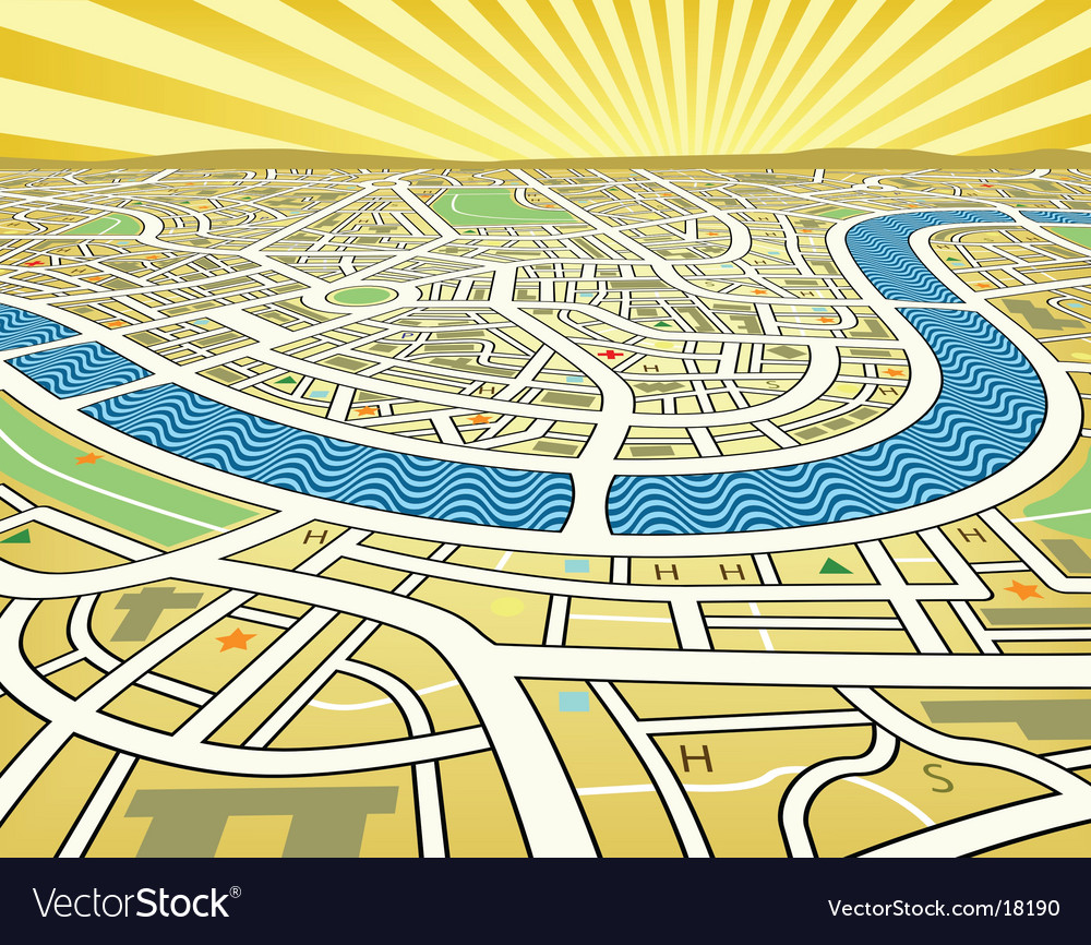 Perspective map vector