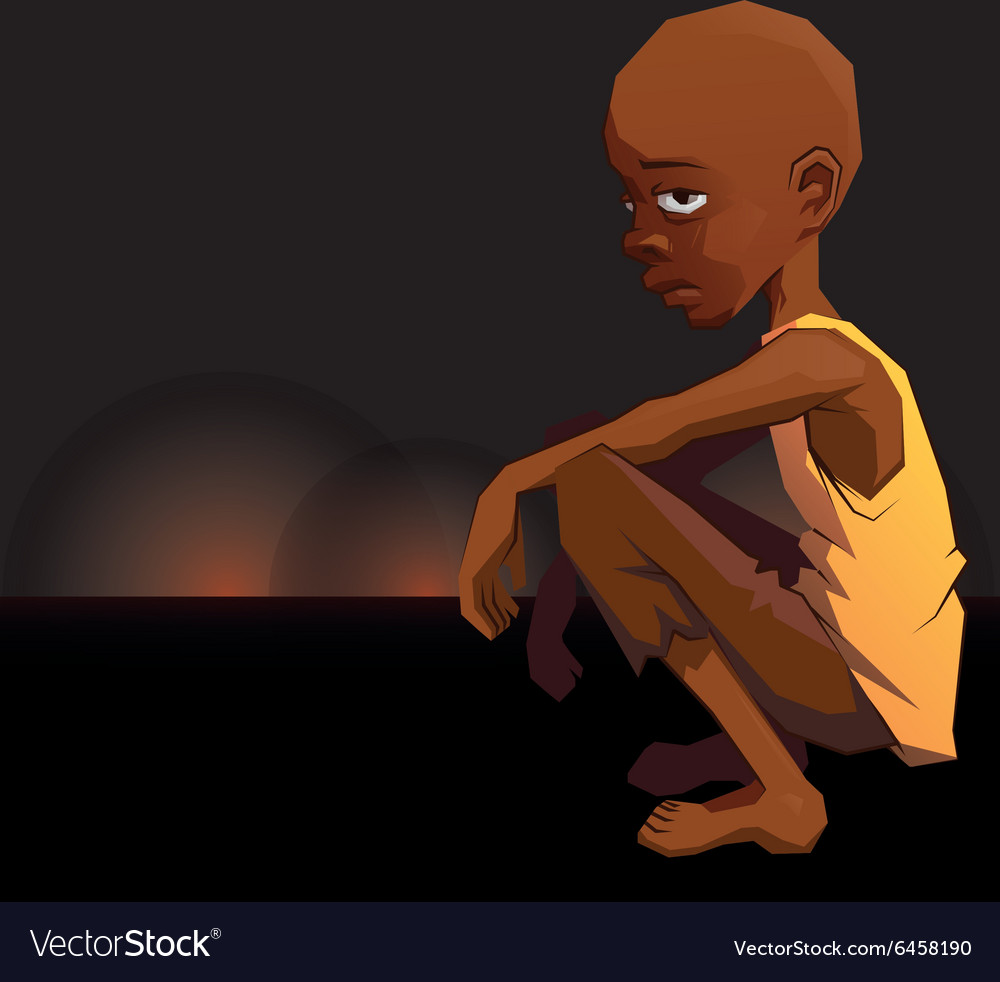 Sad african refugee child boy in a poor dress on vector