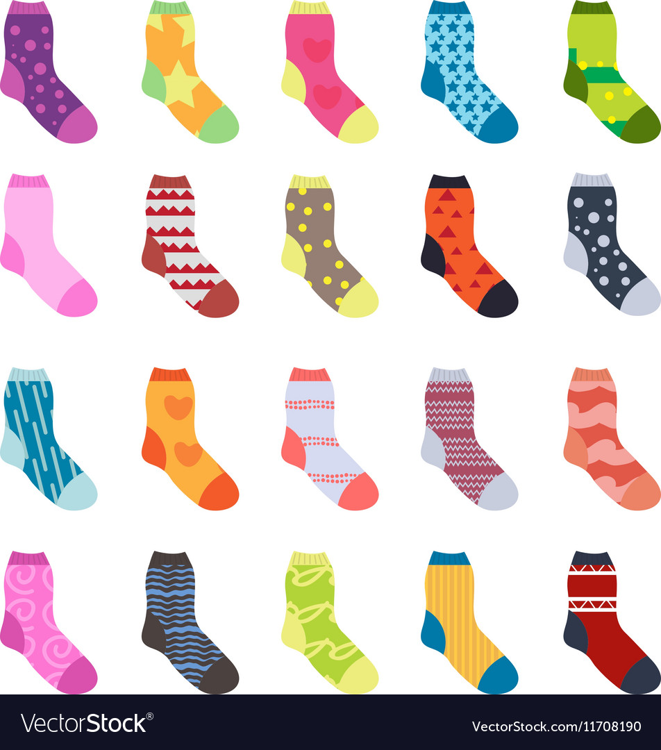 Sock set icons socks collection flat design vector