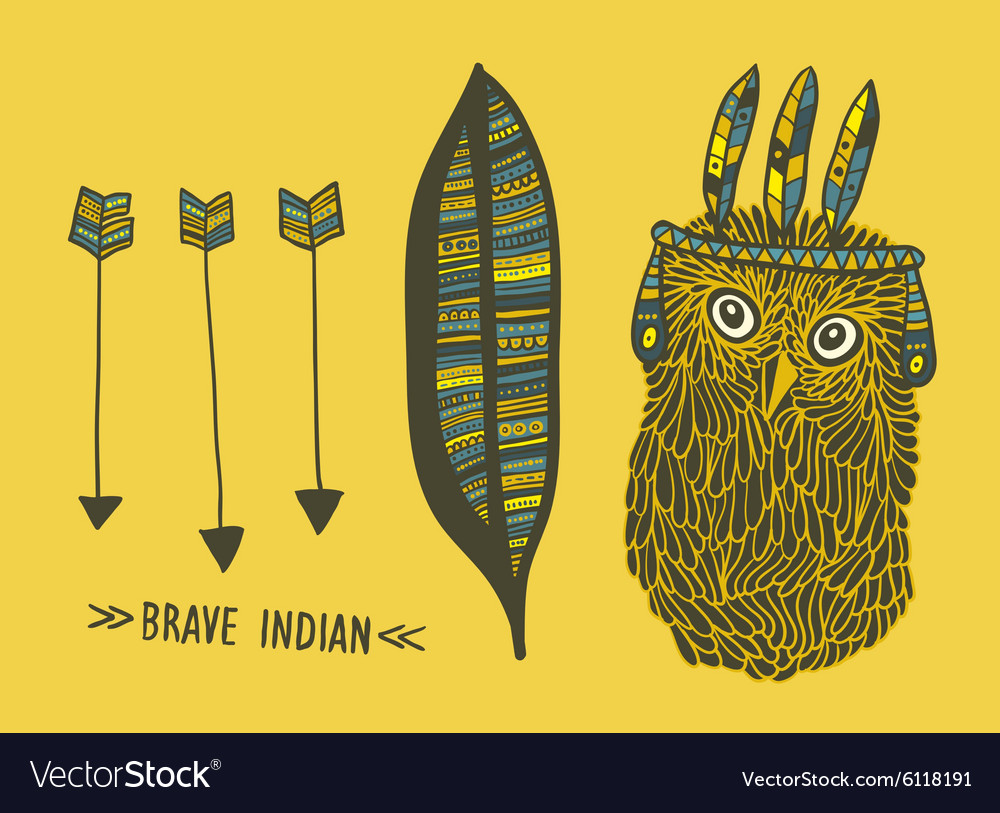 Set of indian things with cute hand drawn owl vector