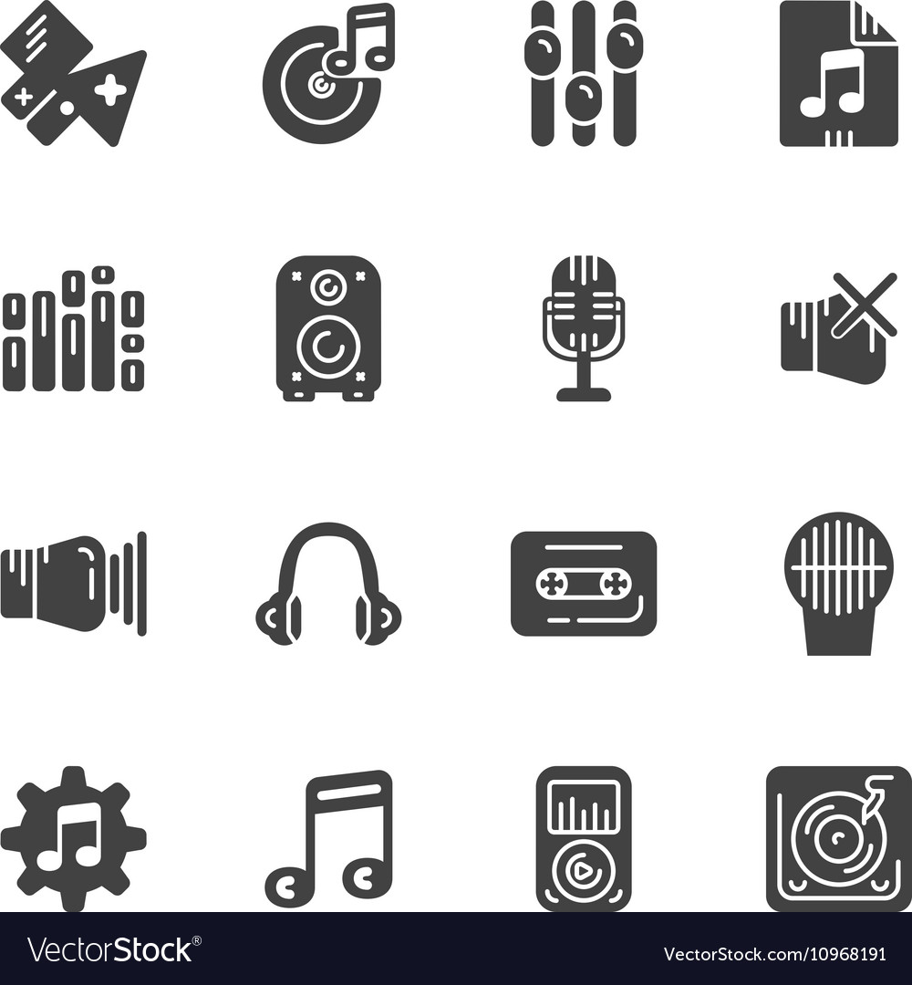 Set of solid icons for music vector