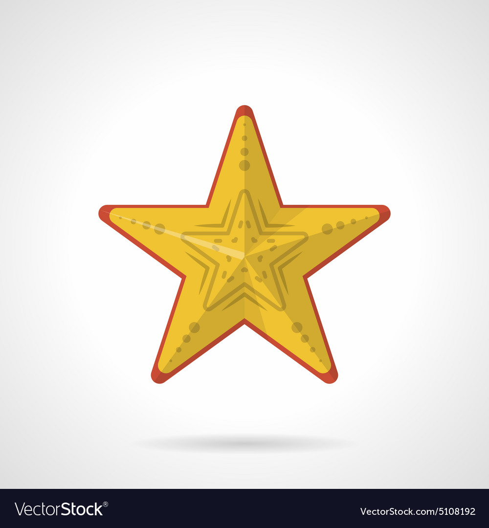 Flat style icon for yellow starfish vector