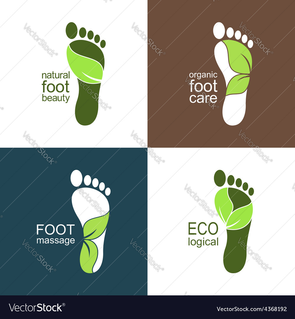 Footprints with green leaves vector