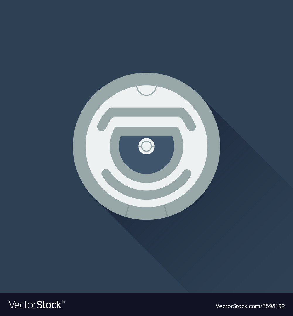 Robot vacuum cleaner flat icon vector
