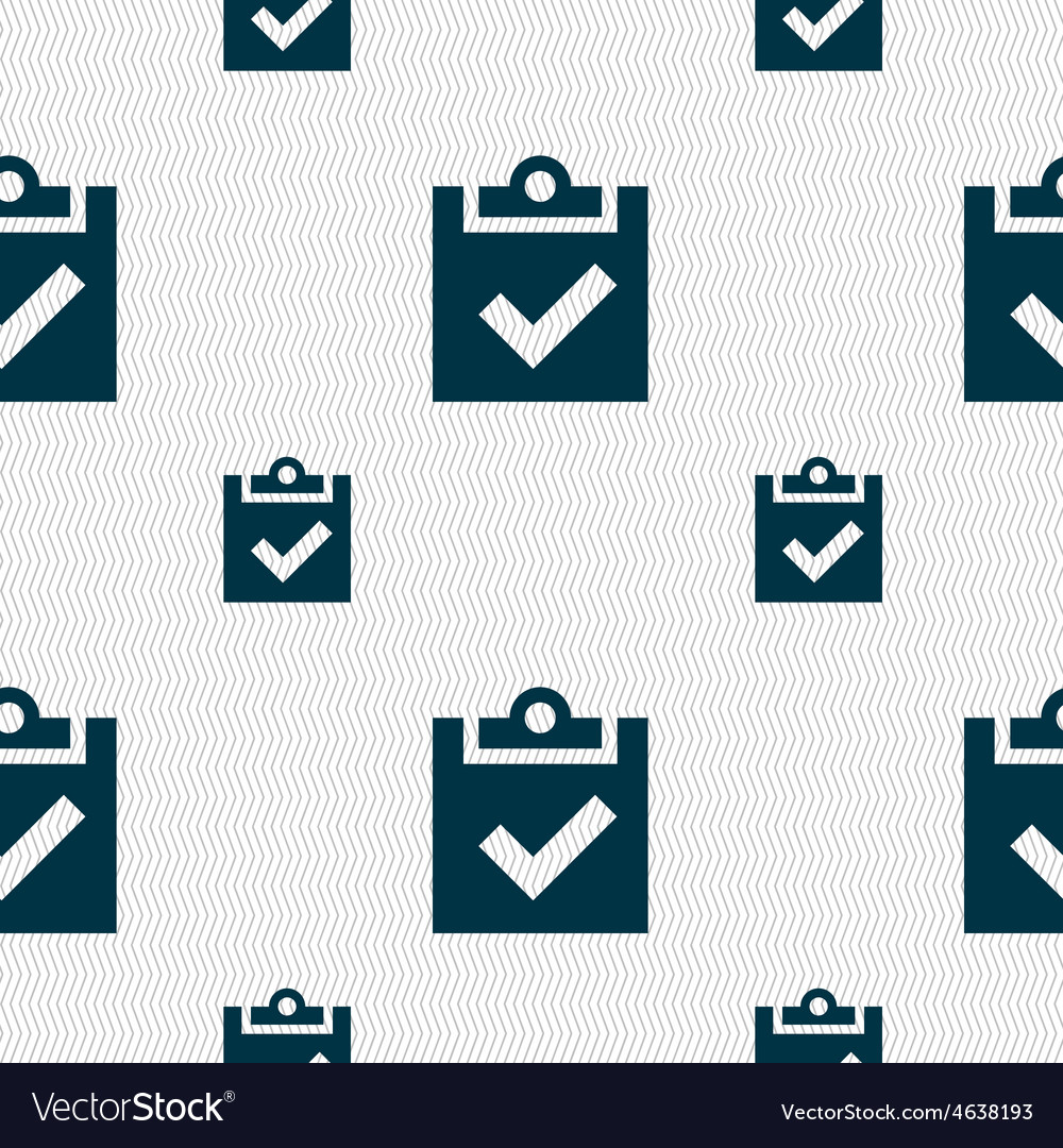 Check mark tik icon sign seamless pattern with vector