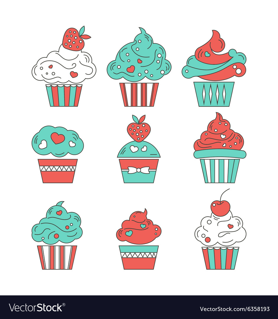Cupcakes flat icons on isolated background vector