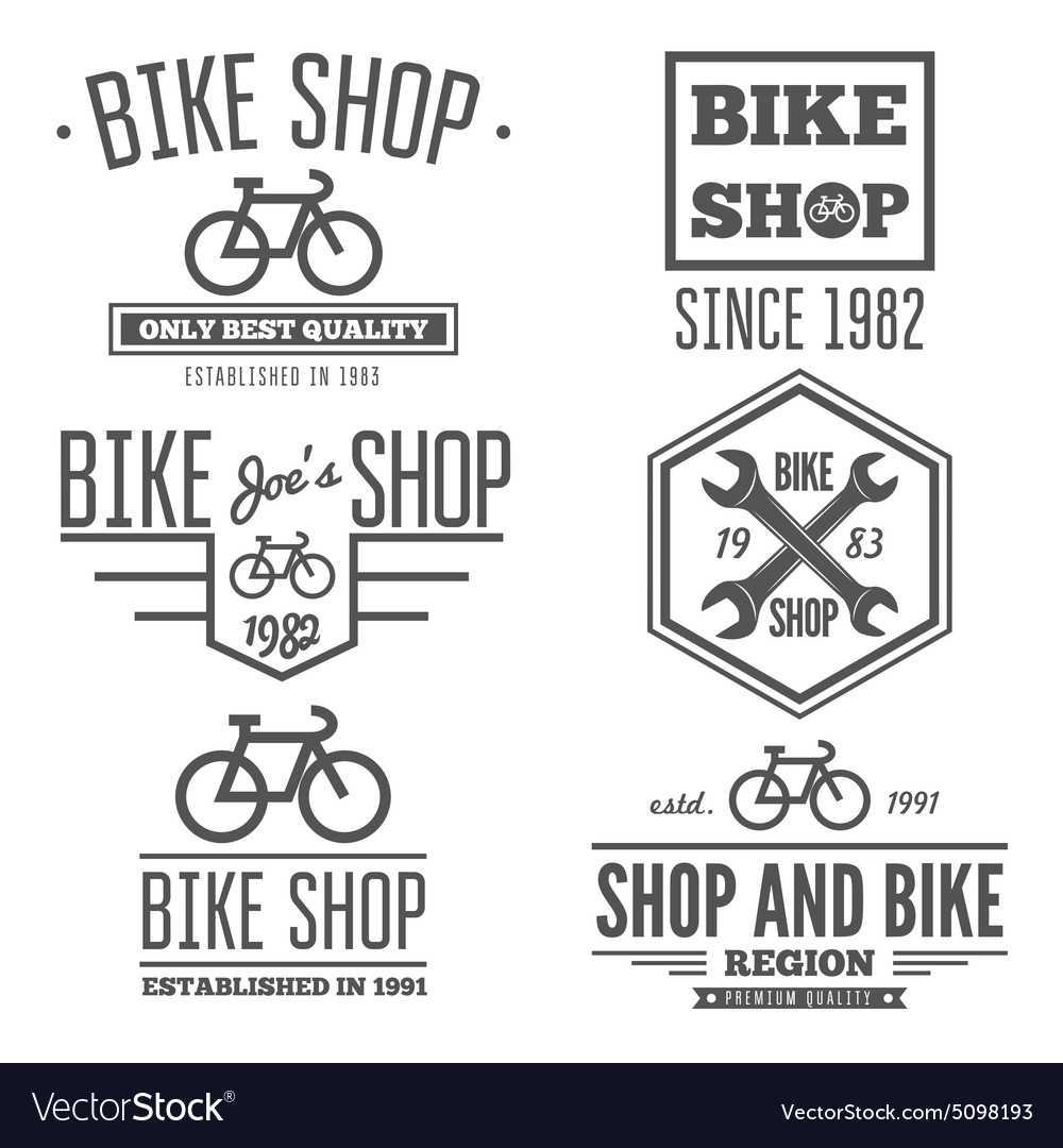 Set of vintage and modern bicycle shop logo badges vector