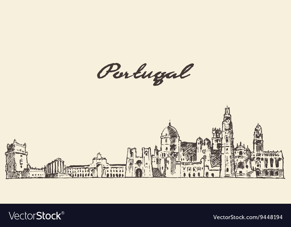 Portugal skyline drawn sketch vector
