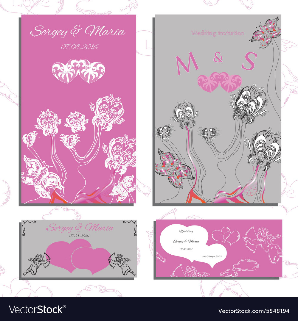 Set of wedding invitations and cards vector