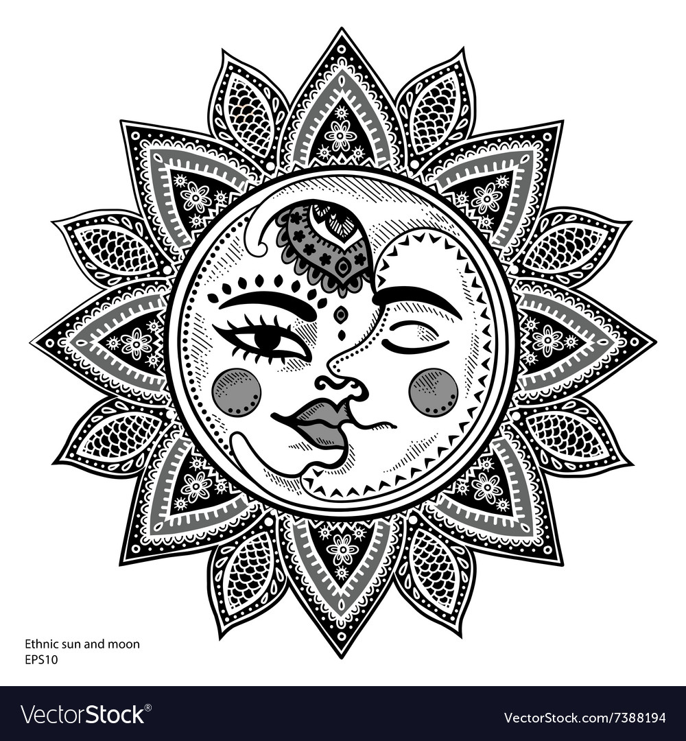 Sun and moon vintage vector